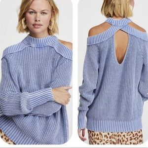 🆕FREE PEOPLE Half Moon Bay Cold Shoulder Sweater
